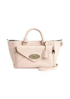 Mulberry ballet pink leather 'Willow' front zip pocket convertible top handle bag
