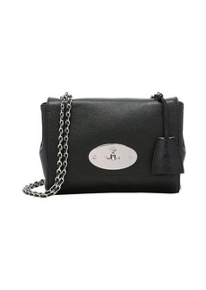 Mulberry black leather flap front mini shoulder bag