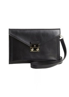 Mulberry black leather logo buckle convertible crossbody bag