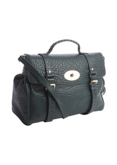Mulberry dark green pebbled leather buckle detail braided top handle large tote bag