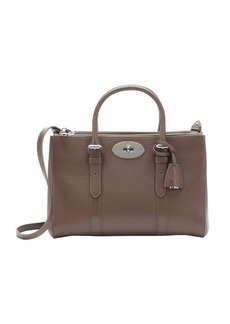 Mulberry dark taupe leather small 'Bayswater' double zip convertible tote