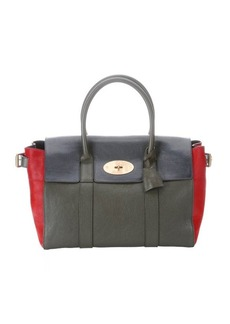 Mulberry green and red leather and calf hair 'Bayswater Bucle' satchel