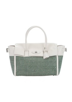 Mulberry jungle green and cream woven leather 'Bayswater' large buckled tote