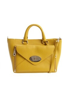 Mulberry mustard leather 'Willow' front zip pocket convertible top handle bag