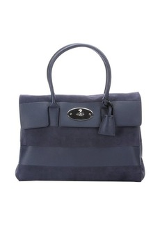 Mulberry navy blue leather and suede 'Bayswater' tote bag