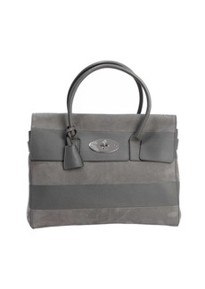 Mulberry stone grey leather and accent 'Bayswater' top handle bag