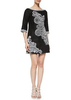 3/4-Sleeve Paisley-Print Dress   3/4-Sleeve Paisley-Print Dress
