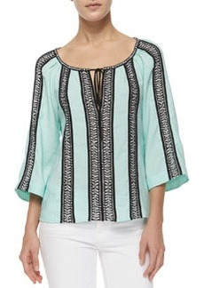 3/4-Sleeve Woven Striped Peasant Top   3/4-Sleeve Woven Striped Peasant Top