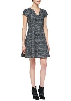Breakthrough Split-Neck Jacquard Dress   Breakthrough Split-Neck Jacquard Dress