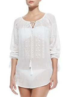 Calcutta Embroidered Voile Coverup Tunic   Calcutta Embroidered Voile Coverup Tunic
