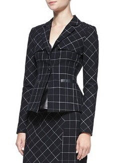 Collegiate Printed Leather-Trim Jacket   Collegiate Printed Leather-Trim Jacket