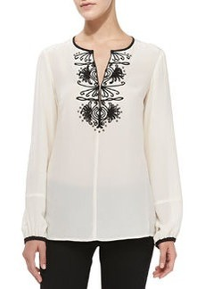 Contrast-Trim Embroidered Silk Blouse   Contrast-Trim Embroidered Silk Blouse
