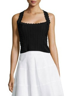 Corset Top with Scallop Detail, Black   Corset Top with Scallop Detail, Black