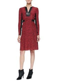 Dewey Decimal Leather-Trim Dress   Dewey Decimal Leather-Trim Dress