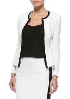Fitted Bullring Blazer with Contrast Trim   Fitted Bullring Blazer with Contrast Trim
