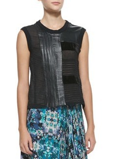 Getaway Leather/Patchwork Sleeveless Top   Getaway Leather/Patchwork Sleeveless Top