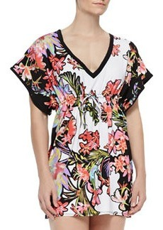 Havana Tropical-Print Jersey Coverup   Havana Tropical-Print Jersey Coverup