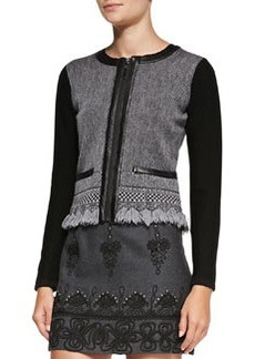 Intrigue Leather-Trim Tweed Jacket   Intrigue Leather-Trim Tweed Jacket