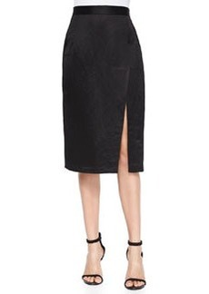 Linen-Blend Pencil Skirt with Slit   Linen-Blend Pencil Skirt with Slit