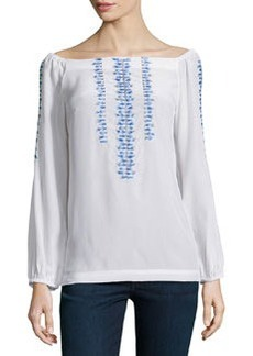 Long-Sleeve Embroidered Peasant Top   Long-Sleeve Embroidered Peasant Top