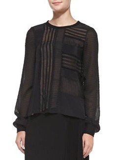 Long-Sleeve Patchwork & Ponte Top   Long-Sleeve Patchwork & Ponte Top
