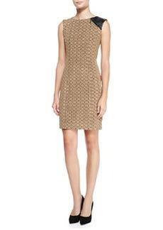 Looking Glass Leather-Shoulder Sheath Dress   Looking Glass Leather-Shoulder Sheath Dress