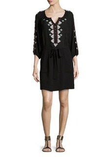 Mariachi 3/4-Sleeve Geometric-Embroidered Dress   Mariachi 3/4-Sleeve Geometric-Embroidered Dress