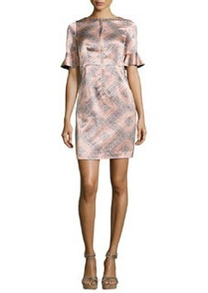 Marseille Flutter-Sleeve Silk Sheath Dress   Marseille Flutter-Sleeve Silk Sheath Dress