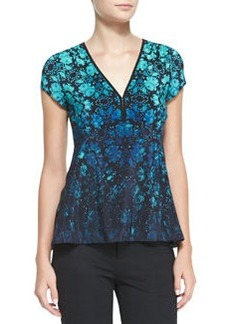 Motive Floral-Print Silk Top   Motive Floral-Print Silk Top