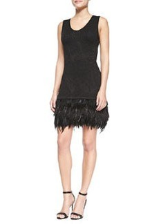 Music Hall Dress W/ Feathered Hem   Music Hall Dress W/ Feathered Hem