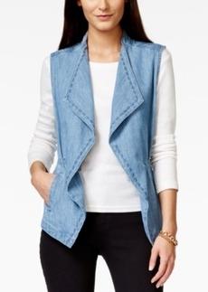 Nanette by Nanette Lepore Diamond Draped Drawstring Denim Vest, Only at Macy's