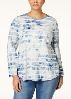Nanette by Nanette Lepore Plus Size Cloudy Crossover-Back Striped T-Shirt, Only at Macy's