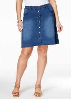 Nanette by Nanette Lepore Plus Size Denim Button-Front A-Line Skirt, Only at Macy's