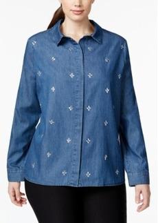 Nanette by Nanette Lepore Plus Size Rhinestone-Embellished Denim Shirt, Only at Macy's