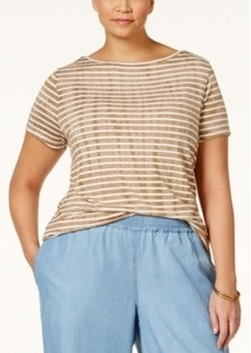 Nanette by Nanette Lepore Plus Size Striped Boat-Neck Top, Only at Macy's