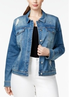 Nanette by Nanette Lepore Plus Size Studded Ripped Denim Spring Blue Wash Jacket, Only at Macy's