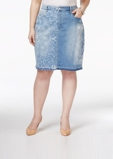 Nanette by Nanette Lepore Plus Size Tall Tales Printed Denim Koo Wash Skirt, Only at Macy's