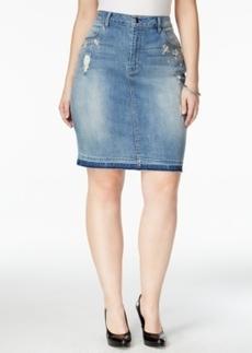 Nanette by Nanette Lepore Plus Size Tiara Rhinestone Ripped Denim Spring Blue Wash Skirt