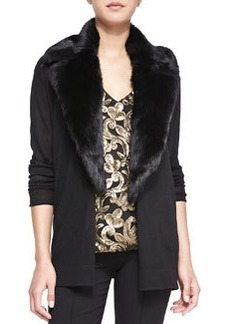Nanette Lepore Backstage Cardigan with Fur Collar