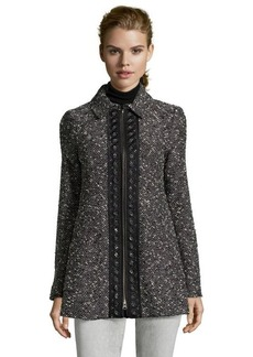 Nanette Lepore black and ivory marled wool blend 'Aristocrat' coat