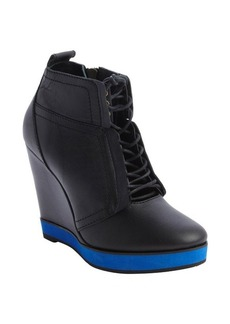 Nanette Lepore black and navy leather lace up wedge heel booties