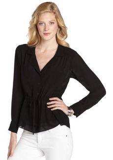 Nanette Lepore black chiffon 'Shadow' tie-waist blouse