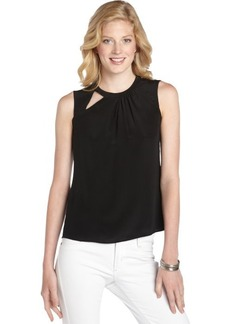 Nanette Lepore black crepe 'Mercury' cutout sleeveless blouse