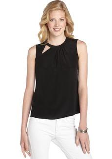 Nanette Lepore black crepe 'Mercury' cutout sleeveless blouse