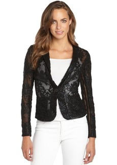 Nanette Lepore black embroidered lace and mesh 'New Wave Jacket'