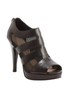 Nanette Lepore black leather and mesh canvas open toe heel booties