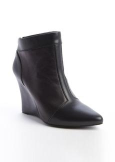 Nanette Lepore black leather rear zip 'Vachetta' wedge heel booties