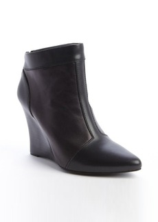 Nanette Lepore black leather rear zip 'Vachetta' wedge heel booties