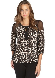 Nanette Lepore black leopard print and sheer keyhole blouse