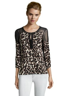 Nanette Lepore black leopard print woven keyhole detail blouse
